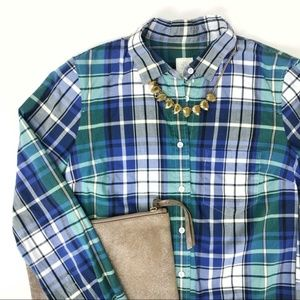 J. CREW Quincy Plaid Button Down Boy Shirt Top - 0